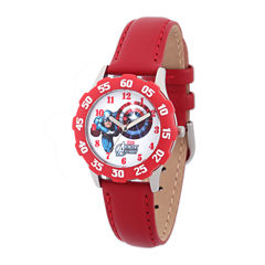Marvel® Captain America Kids Red Leather Strap Watch
