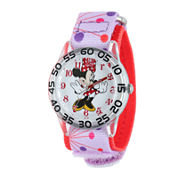 Disney Minnie Mouse Kids Pink Printed Nylon Strap Watch
