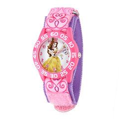 Disney Belle  Kids Pink Printed Nylon Strap Watch