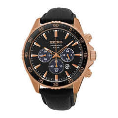 Seiko® Mens Rose-Tone Chronograph Black Leather Strap Watch SSC448