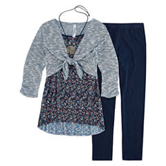 Knit Works Legging Set with Pleated Top and Cozy - Girls 7-16 and Plus