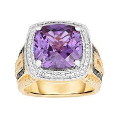 Lab-Created Alexandrite and Color-Enhanced Black Diamond Ring