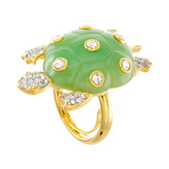 KJL by KENNETH JAY LANE Green Enamel & Crystal Turtle Ring