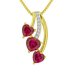 Lab-Created Ruby & White Sapphire 14K Gold Over Sterling Silver Triple Heart Pendant Necklace