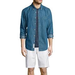 St. John's Bay® Denim Sport Shirt, Striped Tee or Flat-Front Shorts