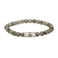 Mens Labradorite Stainless Steel Stretch Bracelet