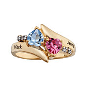 Personalized 18K Yellow Gold over Silver Bypass Heart Birthstone Engraved Ring