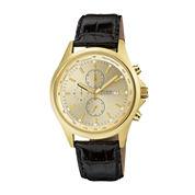 Citizen® Mens Champagne Dial Black Leather Strap Chronograph Watch AN3512-03P