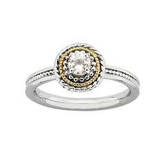 Personally Stackable Two-Tone Genuine White Topaz Ring