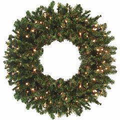 8 Ft. Pre-Lit Commercial Size Canadian Pine Artificial Christmas Wreath with Clear Lights