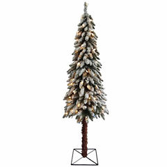 7' Pre-Lit Flocked Alpine Artificial Christmas Tree with Clear Lights