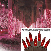 2' X 8' Red Mini Christmas Net Style Tree Trunk Wrap Lights with Brown Wire