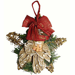 Club Pack Of 96 Gold Grapevine Star With Santa Claus Head Ornaments
