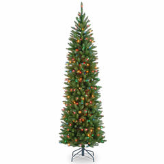 National Tree Co. 6 1/2 Foot Kingswood Fir Hinged Pencil Pre-Lit Christmas Tree