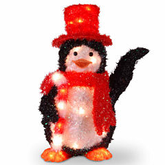 National Tree Co. Fabric Penguin With Candy Cane Animal Figurines