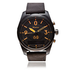 Martian Mens mVoice PTL 01 Black Leather Band Black Dial Smart Watch-Mvr03pl021