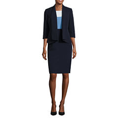Black Label by Evan-Picone 3/4 Sleeve Open Front Jacket with Sleeveless Colorblock Sheath