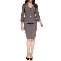 Le Suit 3/4 Sleeve 3-Button Skirt Suit