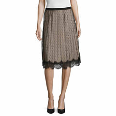 Worthington Lace Trim Pleated Skirt