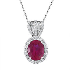 Womens Red Lab Created Ruby Pendant Necklace in Sterling Silver