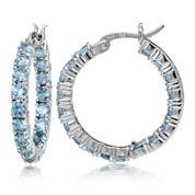 Fine Jewelery Blue Topaz Sterling Silver Hoop Earrings