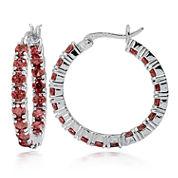 Fine Jewelery Red Garnet Sterling Silver Hoop Earrings