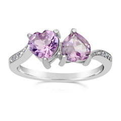 Womens Purple Amethyst Sterling Silver Bypass Ring
