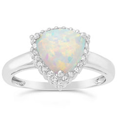 Womens White Opal Gold Over Silver Halo Ring