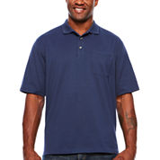 Van Heusen Short Sleeve Solid Knit Polo Shirt- Big & Tall