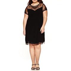 City Triangle Short Sleeve A-Line Dress-Juniors Plus
