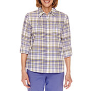 Alfred Dunner Cyprus Roll Sleeve Button Front Shirt - Petite