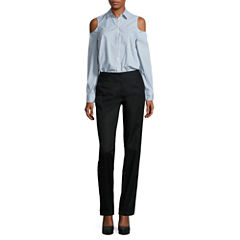 Worthington Long Sleeve Cold Shoulder Button Front Shirt and Wide Waistband Slim Pant