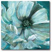 Teal Flower Canvas Wall Art