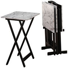 Faux Marble 5-pc. TV Tray Table