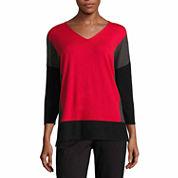 Liz Claiborne Long Sleeve V Neck Pullover Sweater