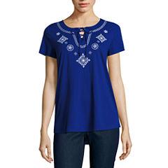 St. John's Bay Short Sleeve Stripe T-Shirt-Womens