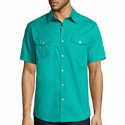 Claiborne Button-Front 2 Pocket Military Short Sleeve Woven