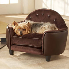 Enchanted Home Ultra Plush Headboard Pet Sofa in Pebble Brown