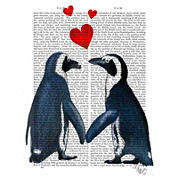 Penguins With Love Hearts Canvas Wall Art