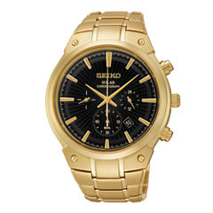 Seiko® Mens Gold-Tone Stainless Steel Solar Chronograph Watch SSC320