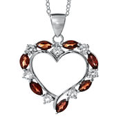 Sterling Silver Genuine Garnet Heart Pendant Necklace