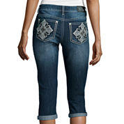 Love Indigo Lace Detail Cross Back Pocket Capris