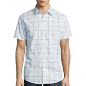 JF J. Ferrar® Short-Sleeve Windowpane Woven Button-Front Shirt