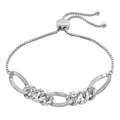 Diamonart Womens White Cubic Zirconia Bolo Bracelet