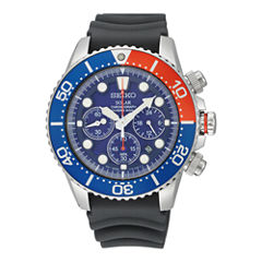 Seiko® Solar Mens Rubber Strap Chronograph Dive Watch SSC031