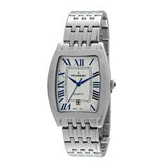 Peugeot® Mens Roman Tonneau Silver-Tone Watch