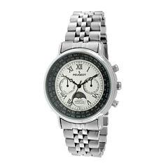 Peugeot® Mens Stainless Steel Moon Phase Perpetual Calendar Watch