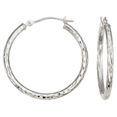 Notched Hoop Earrings 14K White Gold