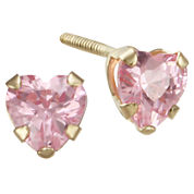 Girls Pink Cubic Zirconia Heart Earrings
