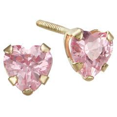 Girls Pink Cubic Zirconia Heart Earrings